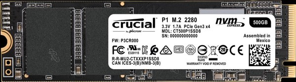 Crucial P1 500GB M2 Type 2280 SSD