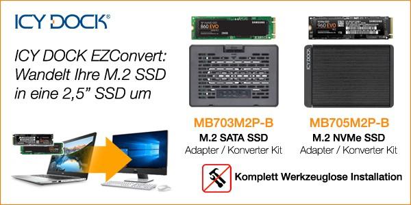 Icy Dock EZConvert MB705M2P-B und MB703M2P-B