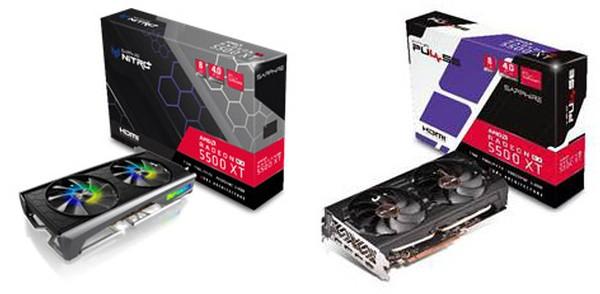 Sapphire Nitro RX 5500 XT 8GB und Pulse RX 5500 XT 4GB8GB