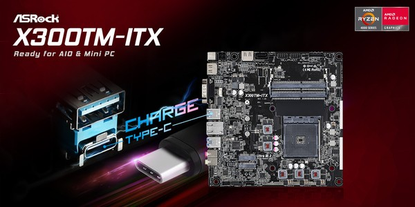 ASRock AMD X300TM-ITX Thin Mini-ITX Motherboard