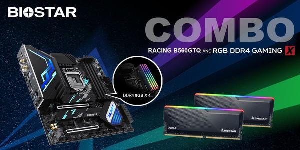 Biostar Racing B560GTQ Motherboard RGB DDR4 Gaming RAM Combo